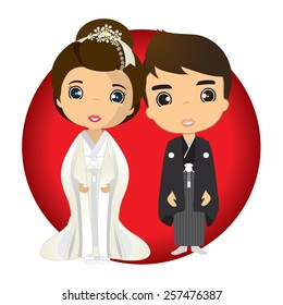 cartoon vector japan bride & groom