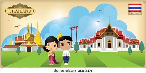 cartoon vector landmark of Bangkok Thailand, Asia boy & girl in thai dress