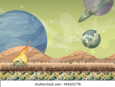 cartoon vector landscape with meteor background with separated layers for game art and animation design asset in 2d graphic