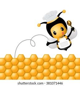 Cartoon Vector little bee cooking honey