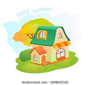 Cartoon vector little house on green grass. Lovely illustration. Stay home!