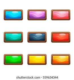 Cartoon vector long rectangle buttons set with colorful middles in wooden frame, isolated on white background.