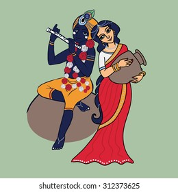 Cartoon vector lord Krishna and Radha. Lord Krishna with flute sitting on the stone. Radha in red sari with pot.