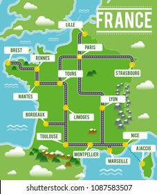 Cartoon vector map of France. Travel illustration with french main cities.