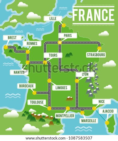 Travel Map Of France.Cartoon Vector Map France Travel Illustration Stock Vector Royalty