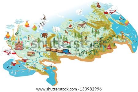 Cartoon Vector Map Russia Symbol Moscow Stock Vector Royalty Free