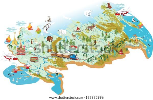 Cartoon Vektor Kort Over Rusland Med Lagervektor Royaltyfri