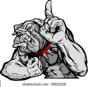 Cartoon Vector Mascot Image of a Bulldog Flexing Arms and Holding up Champion Finger