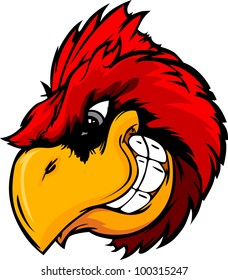 Cartoon Vector Mascot Image of a Cardinal or Red Bird Head