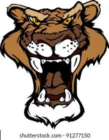 Cartoon Vector Mascot Image of a Mountain Lion Head