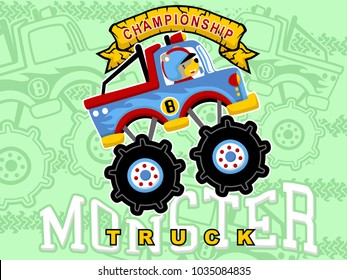 cartoon vector of monster truck with little driver