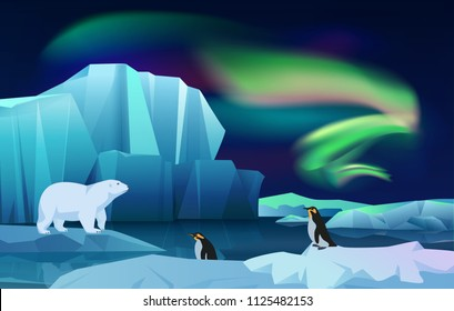 Cartoon vector nature winter arctic ice landscape with iceberg, snow mountains hills. Polar night with aurora borealis northen lights. White Bear and penguins.
