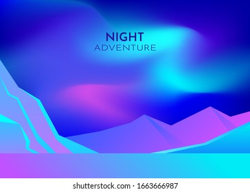 Cartoon vector nature winter arctic ice landscape with iceberg, snow mountains hills. Polar night with aurora borealis northen lights. Vector abstract background. Minimalist style. Flat concept.