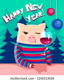 Cartoon vector new year illustration of a cute piggy with glass of wine