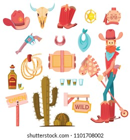 Cartoon vector objects in cowboy set in pastel colors. Vector Cowboy elements with cartoon man character.