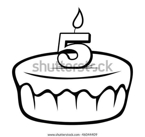 cartoon vector outline illustration birthday cake candle