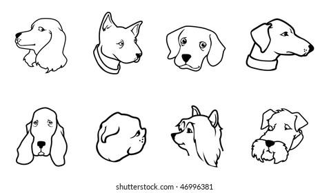 cartoon vector outline illustration dog heads
