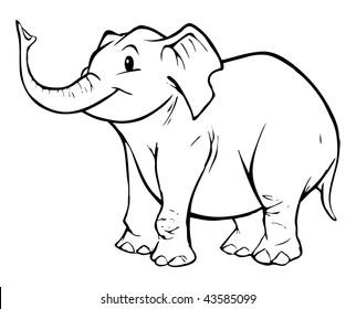 cartoon vector outline illustration of elephant