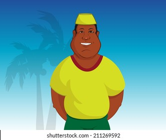 cartoon vector outline illustration of a happy Zambian man