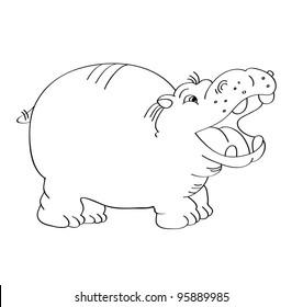 cartoon vector outline illustration of a hippo