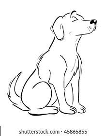 cartoon vector outline illustration Labrador Retriever dog
