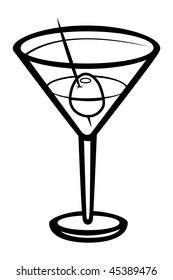 cartoon vector outline illustration martini