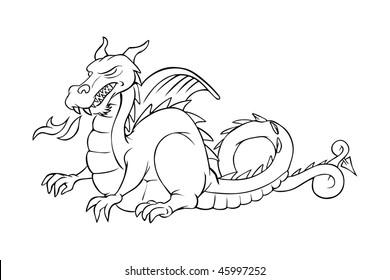cartoon vector outline illustration medieval dragon - Dragon Outline