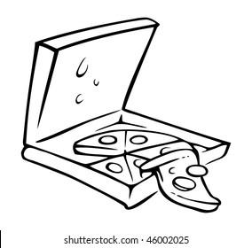cartoon vector outline illustration pizza box slice