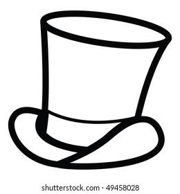 cartoon vector outline illustration top hat