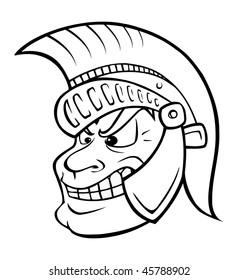 cartoon vector outline illustration Trojan warrior