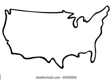 Illustrated Map Of United States Cartoon Images Stock Photos