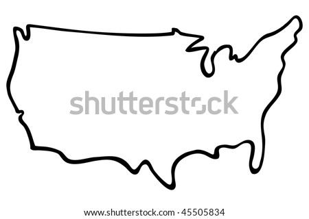 Cartoon Vector Outline Illustration United States Stock Vector