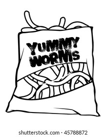 cartoon vector outline illustration worm candies