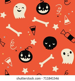 Cartoon vector pattern of halloween elements. Halloween elements for scrap-booking. Hand drawn vector illustration. Trick or treat.