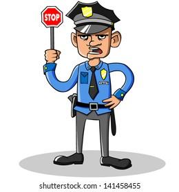Cartoon vector policeman.