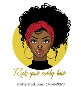 Cartoon vector portrait of an Afro American girl with curly hair, red turban and golden earrings. Fashion Illustration on white background