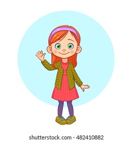 Cartoon vector portrait in full growth of a little girl standing and waving hand.