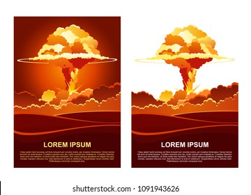 Cartoon vector poster of nuclear explosion. Mushroom cloud and smoke effect. Illustration is symbol of nuclear war, dangers of nuclear energy.