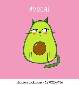 Cartoon vector print with avocado cat. Vector illustration with avocado cat.
