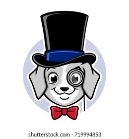 Cartoon vector puppy wearing top hat and monocle