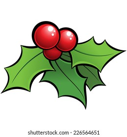 Cartoon vector red and green holi mistletoe decorative xmas ornament with black outlines
