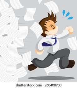Cartoon vector of running office worker from work