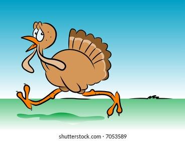 Cartoon vector of a running turkey
