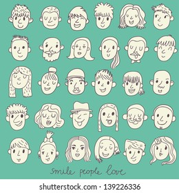 Cartoon vector set � 36 different funny faces. Girls, boys, men, women in white colors