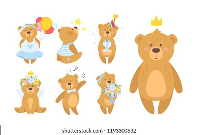 Cartoon vector set of cute teddy bear in different poses and activities, isolated on white background. Template for print or greeting card.