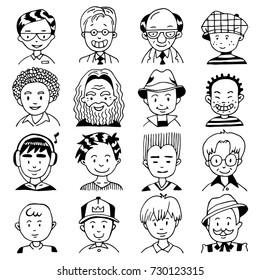 Cartoon Vector Set of Different Men Faces. Character People Portrait. Hand Drawn Doodle.
