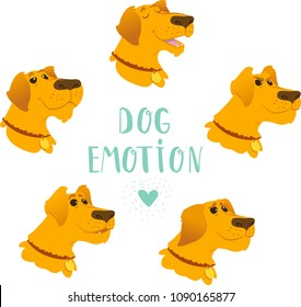 Cartoon vector set of dogs emotion