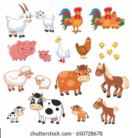 Cartoon vector set with farm animals. Vector illustration for kids