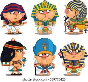 Cartoon. Vector.  Set Funny Egyptian Pharaohs. Travesty cartoon. Characters.  Isolated objects.