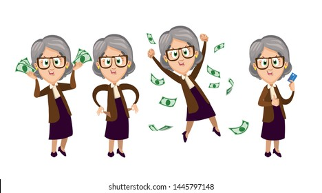 Cartoon vector set related with financial circumstances of elderly women. Smiling granny keeping much money or plastic card in hands, turning out empty pockets, jumping for joy among banknotes.